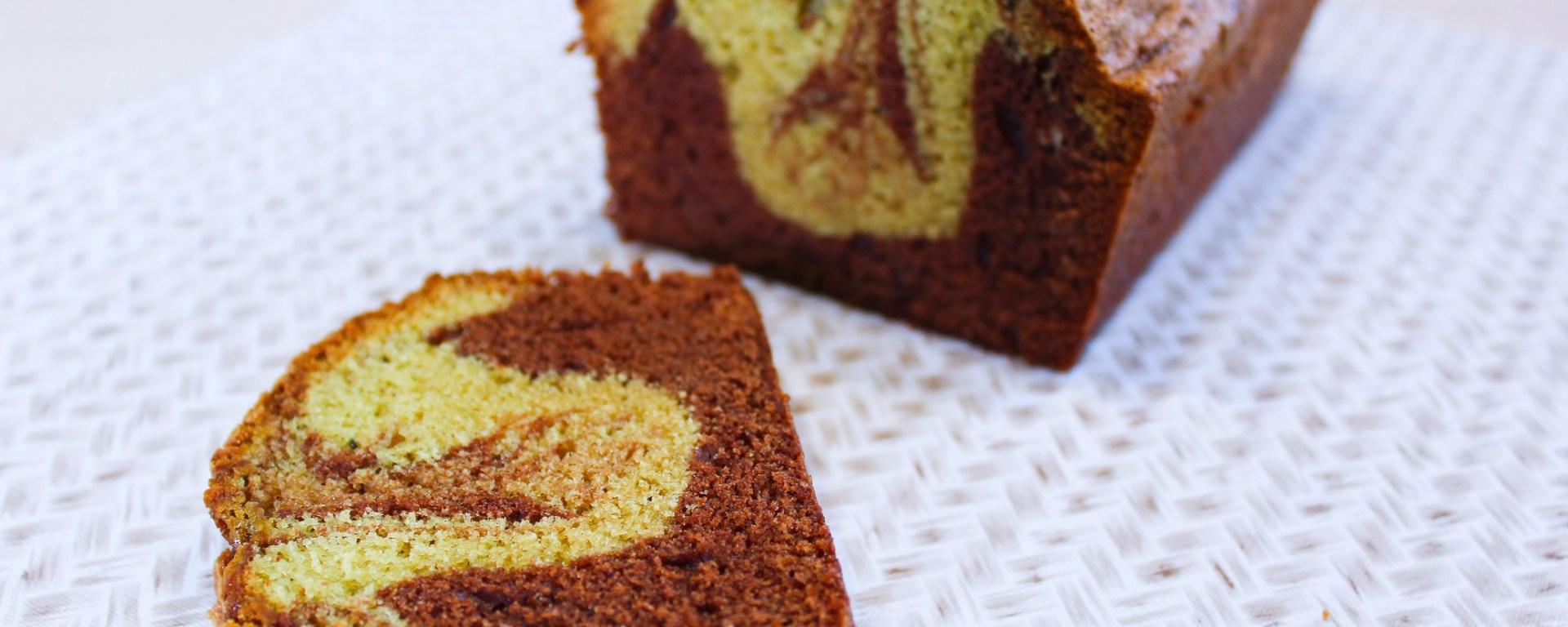 Délicimô ! - Recette du Cake Marbré Chocolat Pistache Choco - www.delicimo.fr