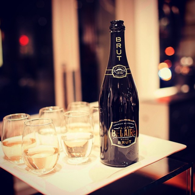 One glass of Luc Belaire Brut sparkling wine