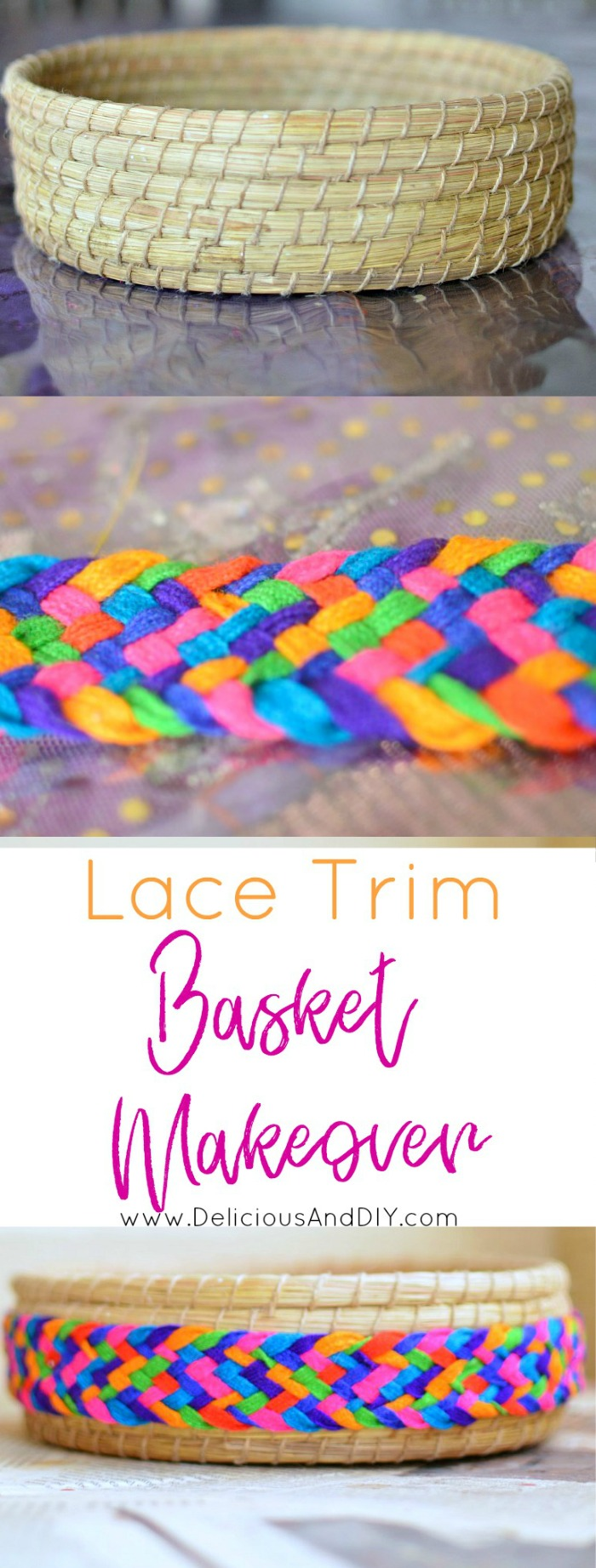 Spruce up those plain looking baskets using this simple trick| Lace Trim Baket Makeover| Craft Projects done in under 5 minutes| Handwoven Basket Update| DIY Craft Project| home Decor| Craft Ideas