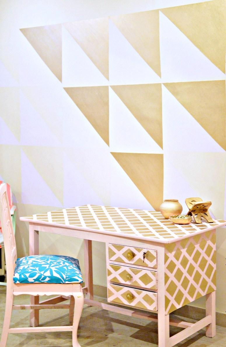 Writing Desk Table Makeover using Masking Tape| Geometric Masking Tape| Geometric Pattern| Upcycled Furniture| Writing Desk Makeover| Home Decor| Chalk Paint Furniture Makeovers