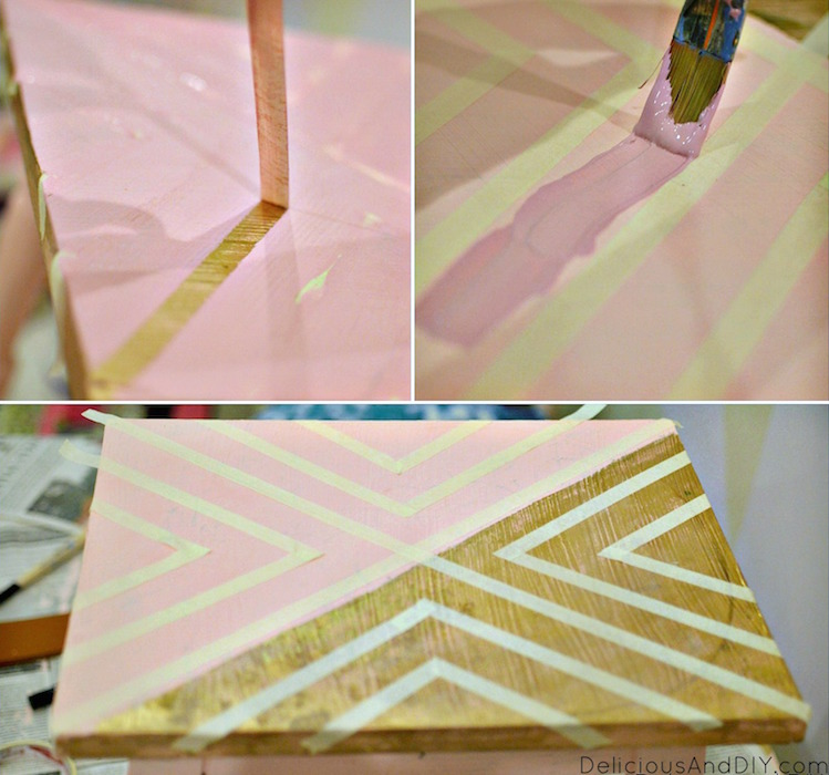 Create this fun pattern using Masking Tape and completely transform your table  Geometric Table  Painted Furniture  Home Decor  Masking Tape Table  DIY Geomteric Tables  Upcylced Furniture