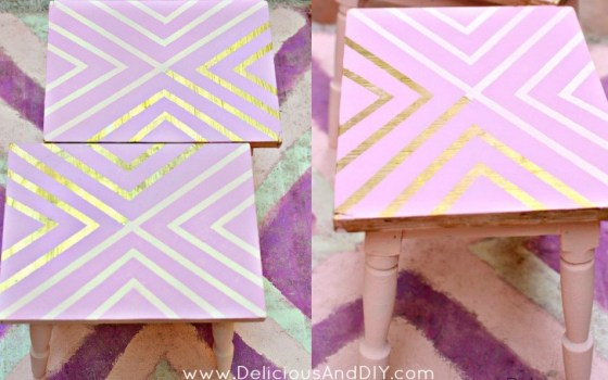 DIY Gold Geometric Tables {Using Masking Tape}