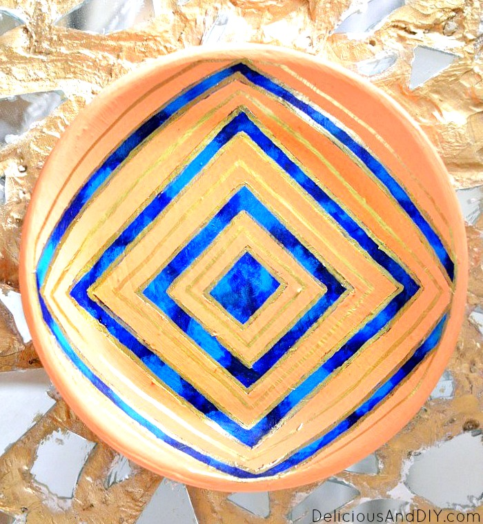 Hand Painted Bowl Makeover Using Masking Tape - Delicious And DIY