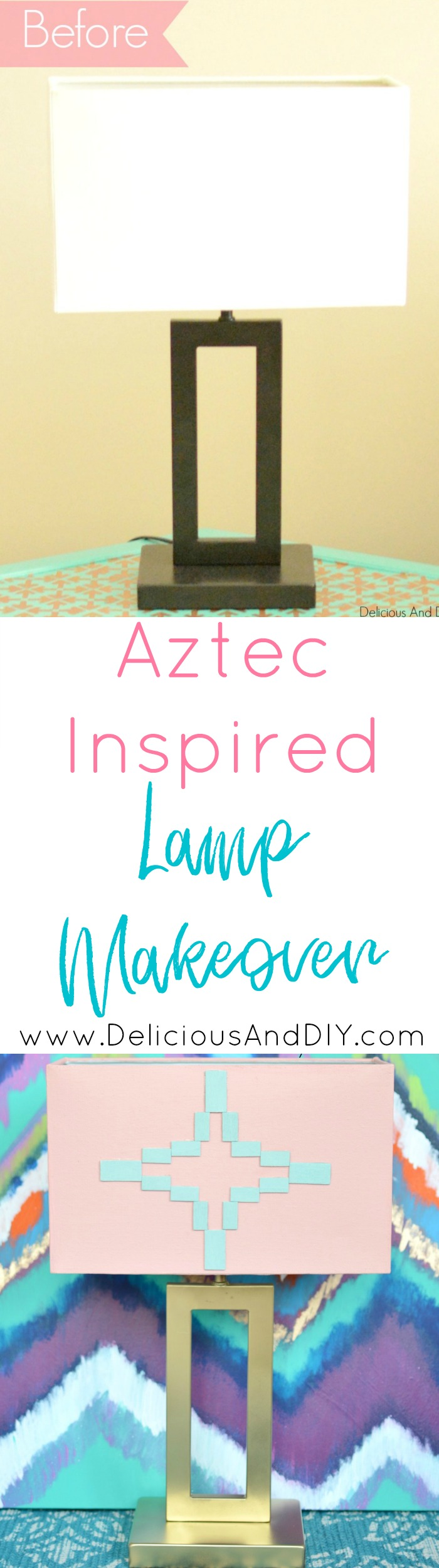 How to update a lamp using wood chips and create a gorgeous Aztec Pattern| Aztec Inspired Lamp Makeover| Southwestern Pattern| Lamp Makeover Ideas| DIY Crafts| Update an old lampshade