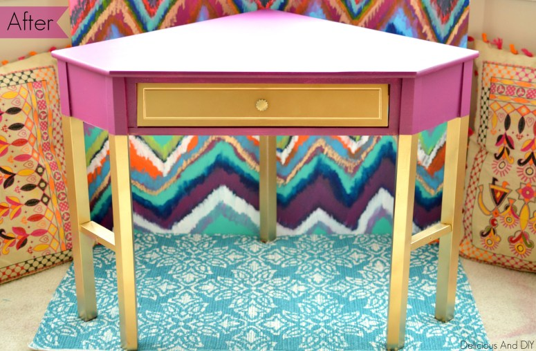 Corner Table Makeover -Delicious And DIY