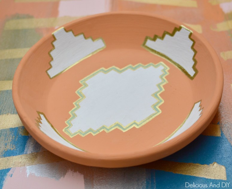 Hand Painted Aztec Bowl Makeover- Delicious And DIY