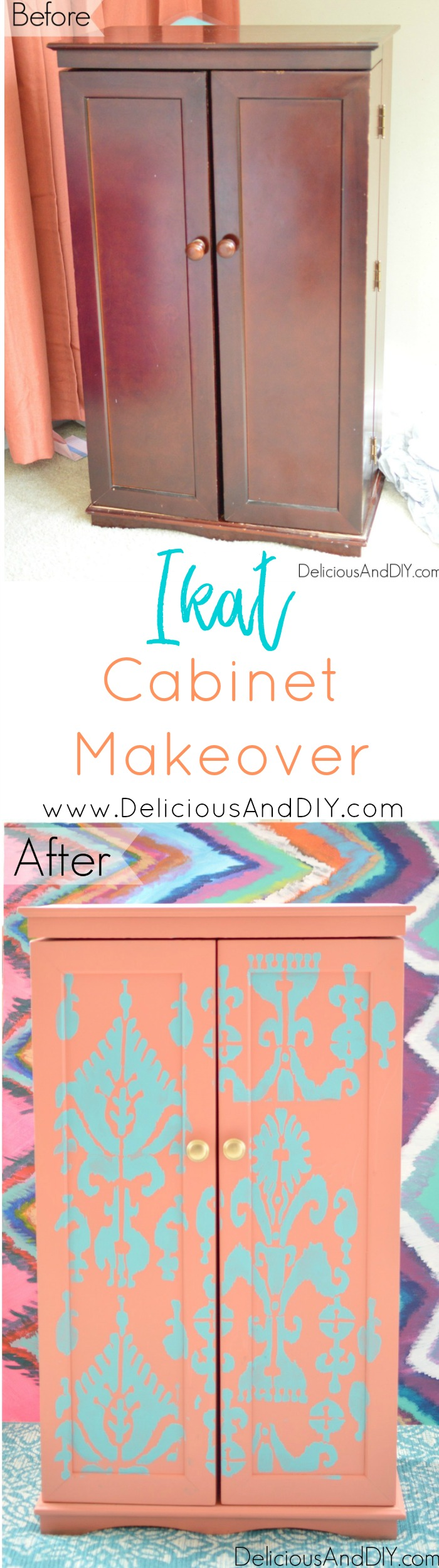 Gorgeous Ikat Cabinet Makeover using bright colored paints and a stencil| Home Decor| Painted Furniture| DIY Projects| Stenciled Projects| Furniture Makeover| Repurposed Furniture| Ikat Pattern