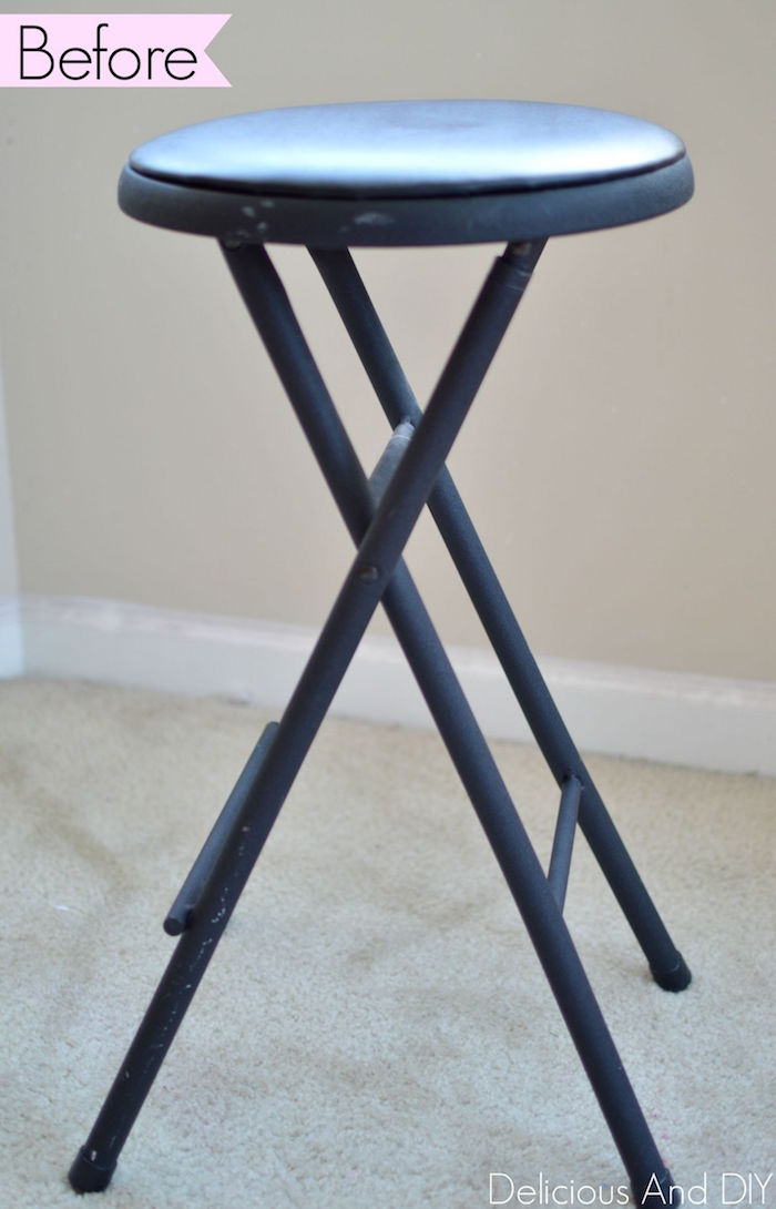 Mod Triangle Stool Makeover| Bar Stool Makeover Ideas| Home Decor Ideas|Painted Furniture| Home DIY| Before and After|Fabric Painted Furniture| Stamped Fabric Paints Pattern| Fabric Painting Ideas