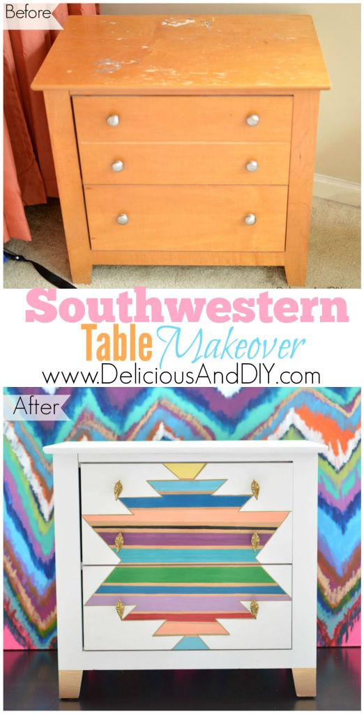 Southwestern Table Makeover| Table Makeover| Home Deco| Home Improvement| KIllim| Painted Furniture| Masking Tape Project