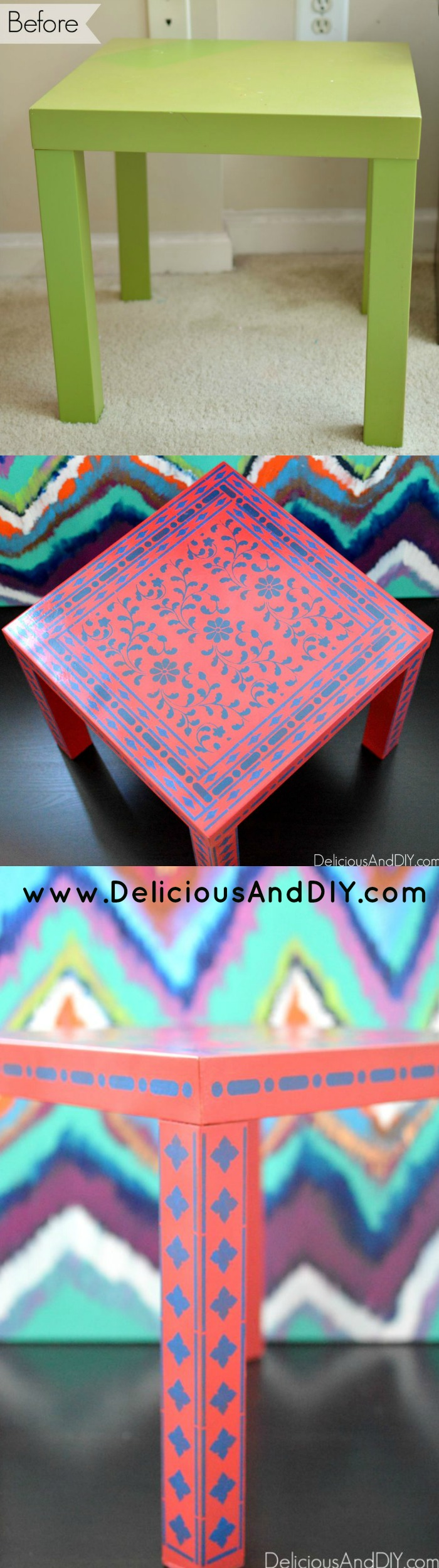 Create this gorgeous stenciled corner table using the beautiful Indian Inlay Stencil and spruce up a plain basic Ikea table
