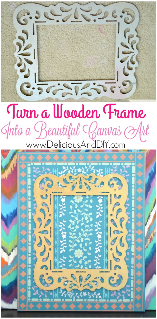 Wooden Frame Stencilled Canvas - Delicious And DIY
