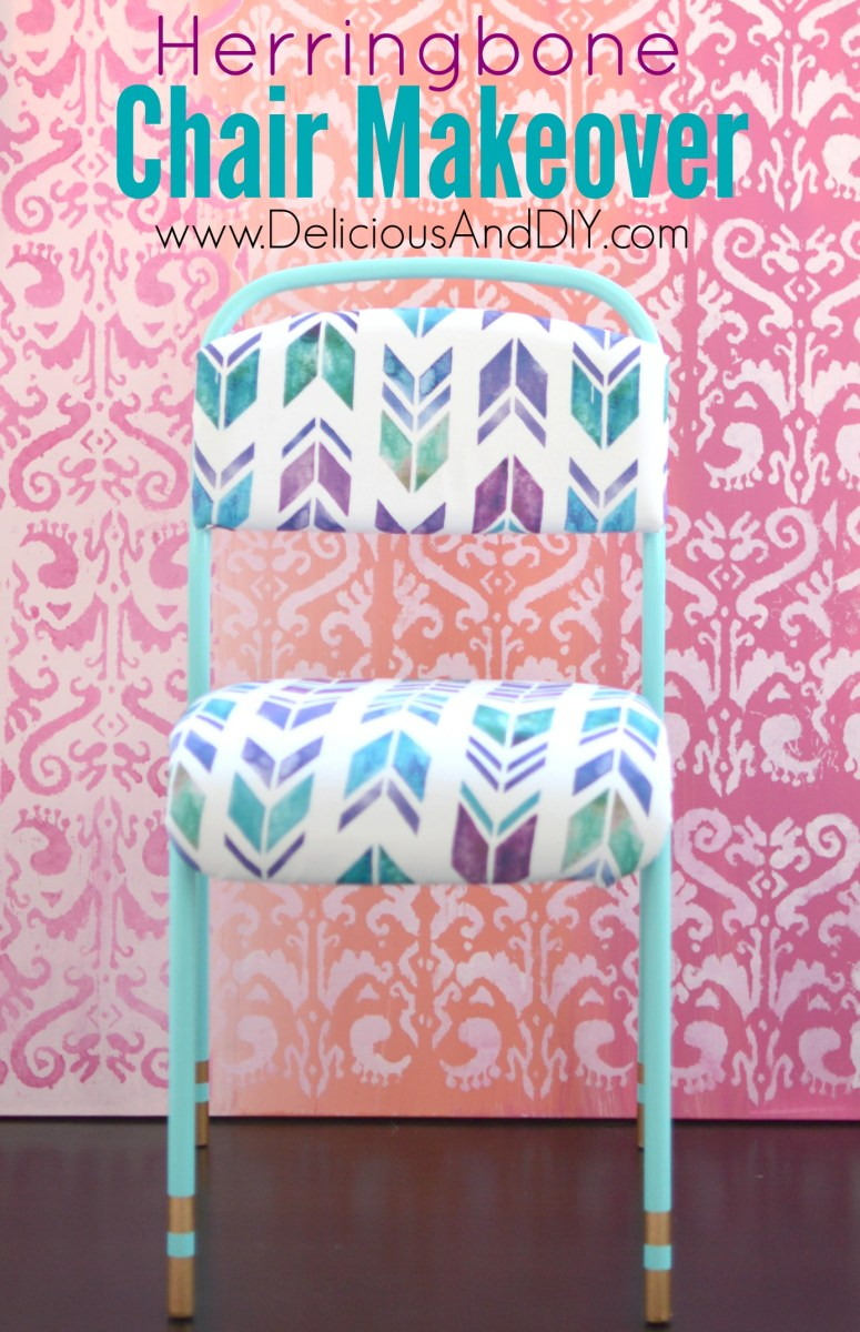 Herringbone Chair Makeover - Delicious And DIY