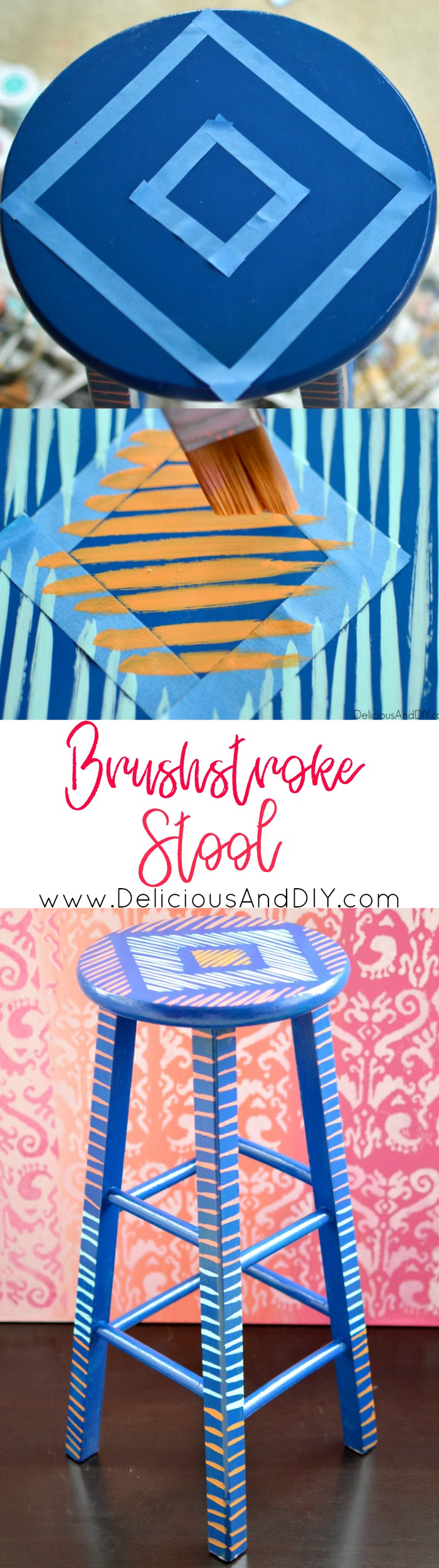 Create a gorgeous Brushstroke pattern on an old stool and give it a funky makeover| Masking Tape Projects| Upcycled Furniture| Repurposed Furniture| Stool Makeover Ideas| Colorful Furniture| Home Decor| Painted Furniture