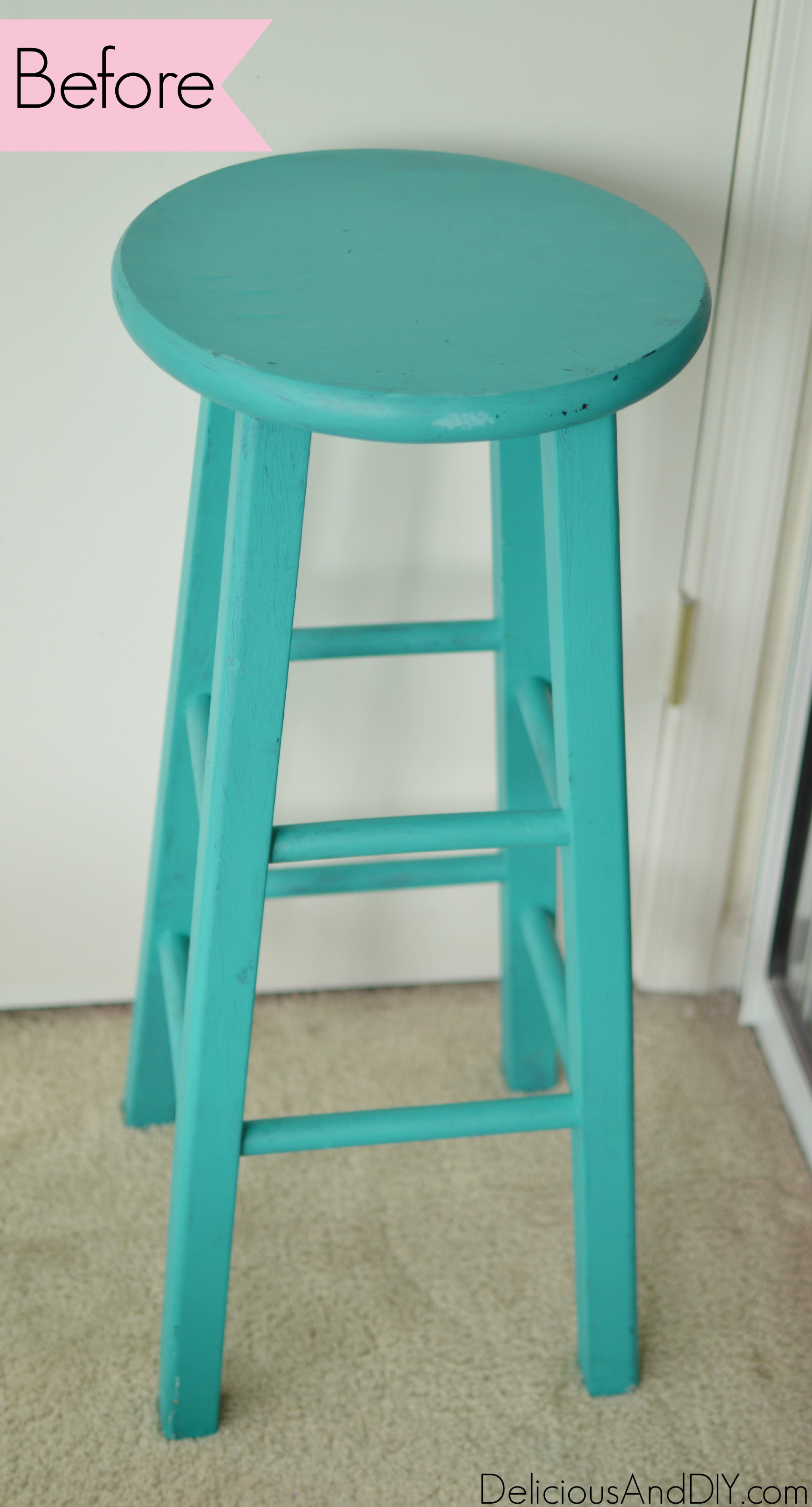 Brush Stroke Art Stool Makeover Delicious And Diy