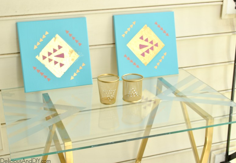 DIY Etched Glass Table Top which you can make easily with Etching Cream and Masking Tape| Etched Glass Table Top| Geometric Pattern| Repurposed Furniture| Home Decor| Furniture Makeover| Ikea Table Hacks| Gold Table Legs| Glass Table Makeover Ideas