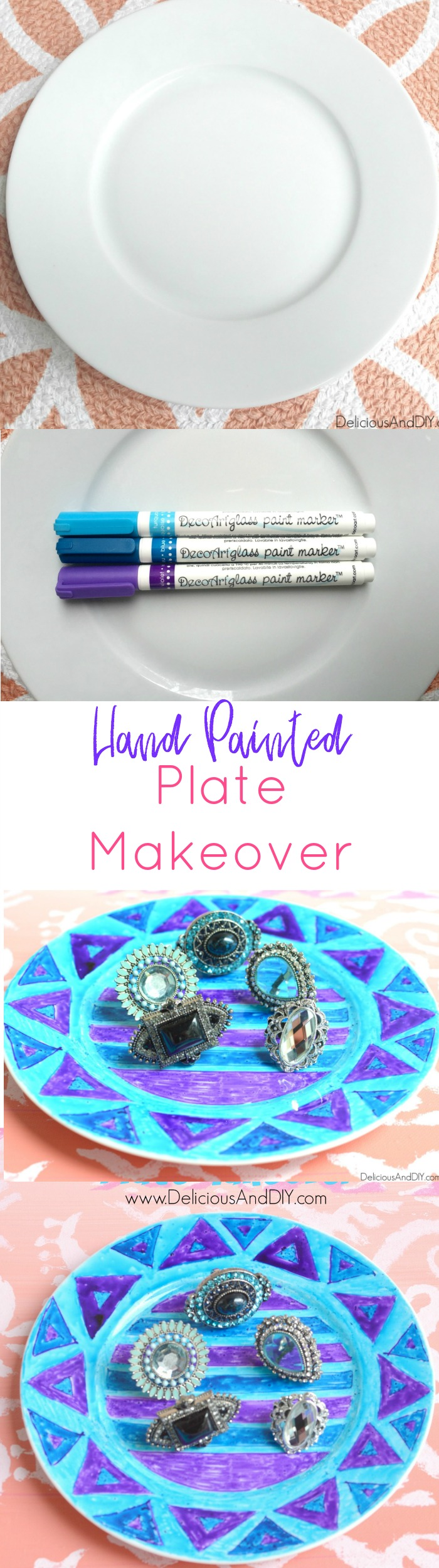 Create a gorgeous fun pattern using just Glass Paint Marker and easily customize plain white plates| DIY Crafts using Sharpie| Handpainted Plates| Hand painted Mugs| Glass Paint Projects| Ikea Plates Painted