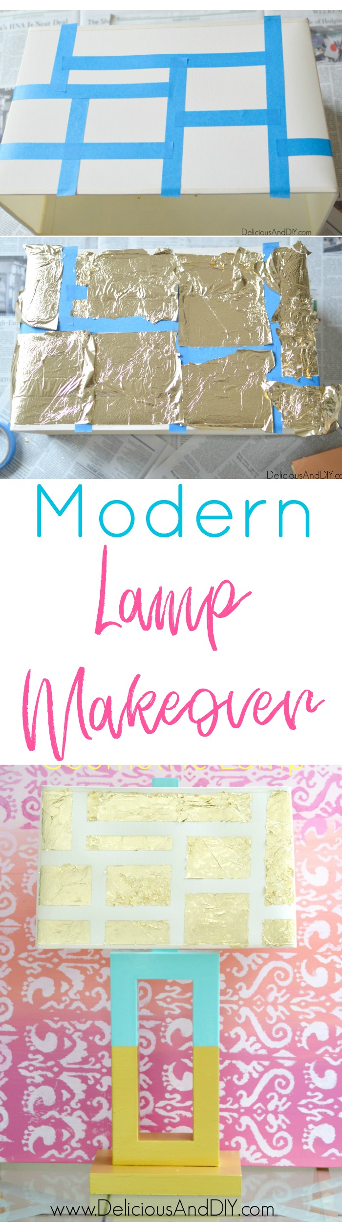 Give an old lamp a modern makeover using just a few simple supplies| Gold Leaf Lampshade Makeover| Lamp Update Ideas| Geometric Lamp Makeover| Masking Tape Projects| DIY Lamp Ideas