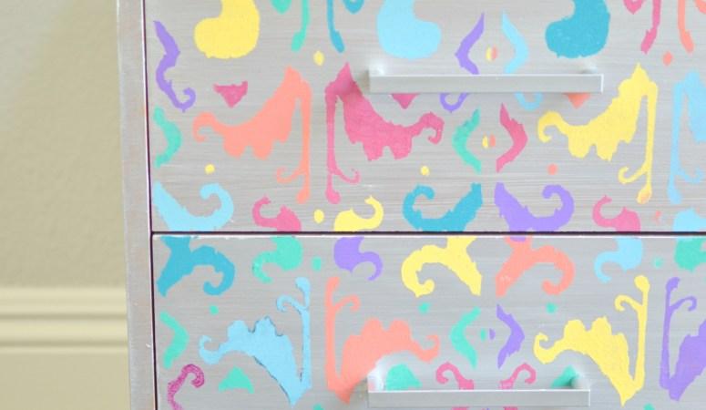 Multicolored Ikat Nightstand