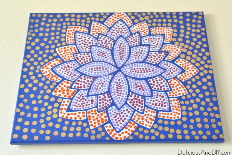 Dotted Flower Art  Gallery Wall Ideas  Home Decor  Easy Home Decor Ideas  Decor on a Budget  Flower Art  Dotted Art