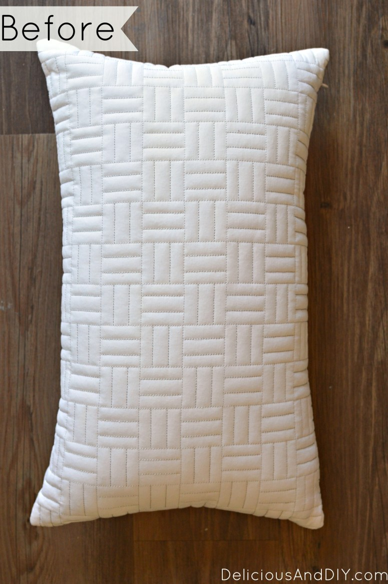 Fabric paint an old pillow and make it into a contemporary Dotted Art Throw Pillow