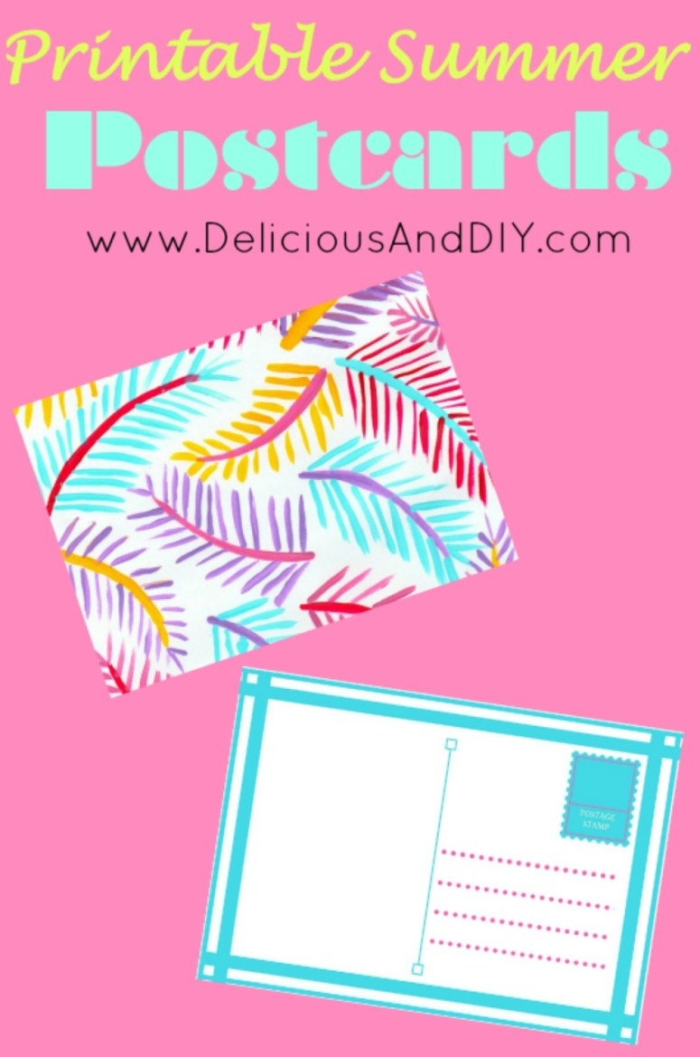 Printable Summer Postcards| Summer Craft Ideas| Create these fun palm leaf inspired postcards | Printables