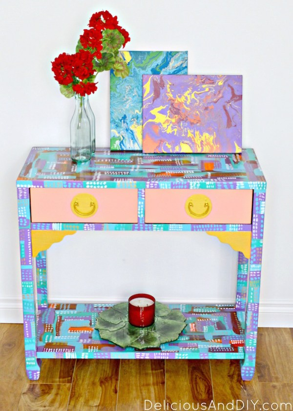 Abstract Console Table Makeover  Hand Painted Furniture  Bright and Bold Furniture  Brushstroke Furniture  Colorful Furniture  Entryway Furniture Ideas  Before and After Furniture Makeover