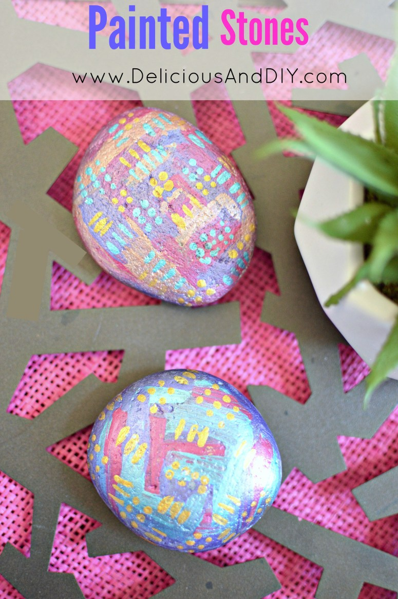 Get Creative with the painted rocks craze| Geometric painted stones| DIY Craft Projects| Fun Activities to do with the Kids| Painted Stones