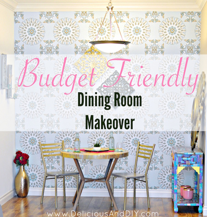 DIY Budget Friendly Dining Room Makeover| Dining Room Reveal| Removable Wallpaper| DIY Wallpaper| Budget Friendly Home Decor Ideas| Room Reveals| Dining Room Ideas| Gold Medallion Pattern| DIY Dining Room Ideas| Room Makeover Ideas