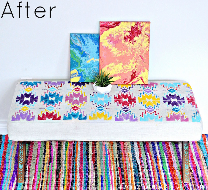 kilim Bench| Stenciled Bench Makeover| Home Decor Ideas| Painted Furniture| Fabric Painted Furniture| Kilim| Southwestern Inspired Bench| Kilim on a Budget| Bench Ideas| Patterns| Stenciled Bench|Furniture Makeover Ideas| Before and After