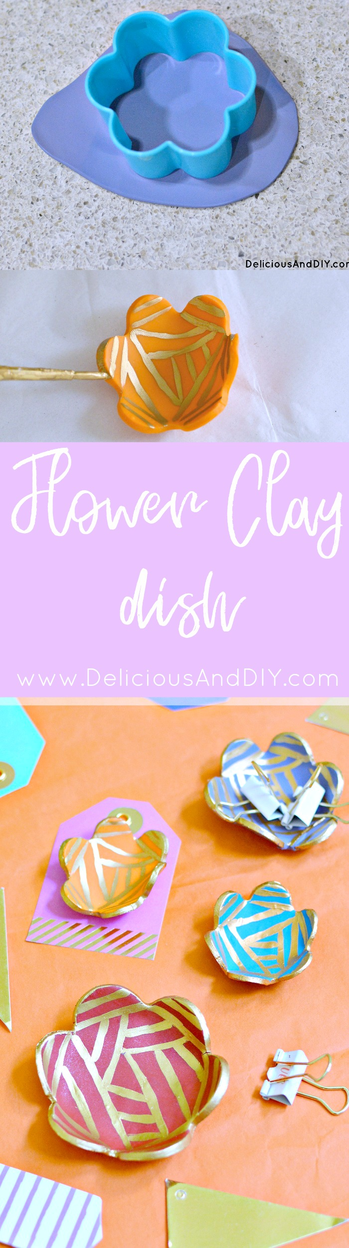 Flower Clay Dish| Clay Projects| DIY Crafts| Flower Clay Cup Dish| Clay Ring Bowls| Handmade Clay Crafts| DIY Projects| Hand painted Craft Projects| DIY Ring Dish| DIY Flower Clay Dish