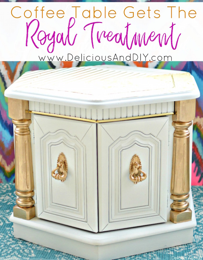 Learn how to paint your old furniture and give it the Royal Treatment| Give a flawless finish to your old furniture and give it a complete transformation| Before and After| Home Decor| Thrift Store Furniture Upgrade| Spray Painted Furniture| DIY Crafts| Hand Painted Furniture| Gold Leaf Furniture| DIY Home Decor