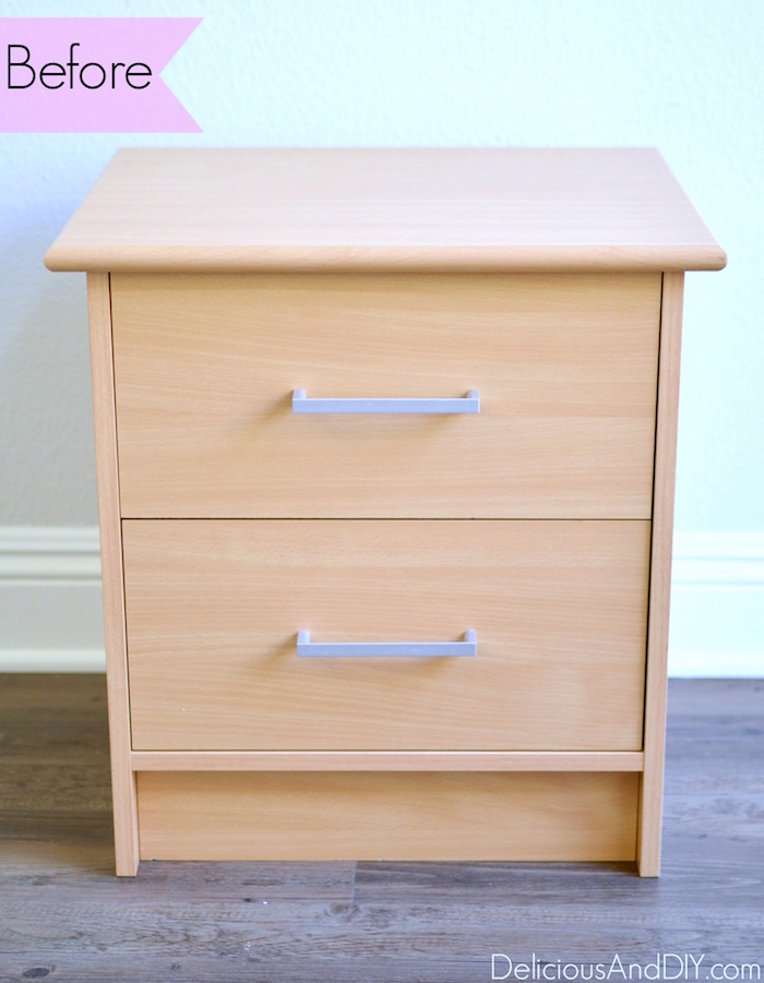 Give your Old Nightstands a stunning makeover using an Ikat Stencil and Hairpin Legs  Tranform old furniture using Hairpin Legs  Before and After  Painted Furniture  Home Decor  Thrift Store Furniture Upgrade  Before and After  Nightstand Ideas