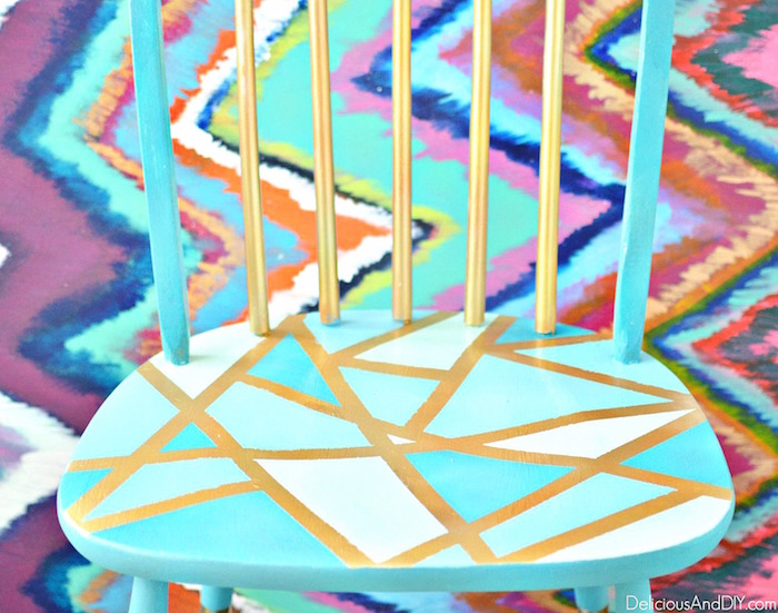 Makeover a Wooden Chair Using Only Masking Tape| Geometric Pattern Wooden Chair| Masking Tape Wooden Chair| Hand painted Wooden Chair| Before and After Chair Makeover| Affordable Chair Makeover Ideas| Budget Friendly Chair Ideas
