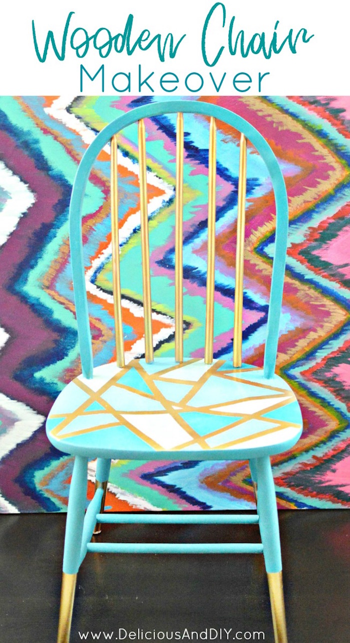 Makeover a Wooden Chair Using Only Masking Tape| Geometric Pattern Wooden Chair| Masking Tape  sc 1 st  Delicious And DIY & Wooden Chair Makeover Using Only Masking Tape - Delicious And DIY