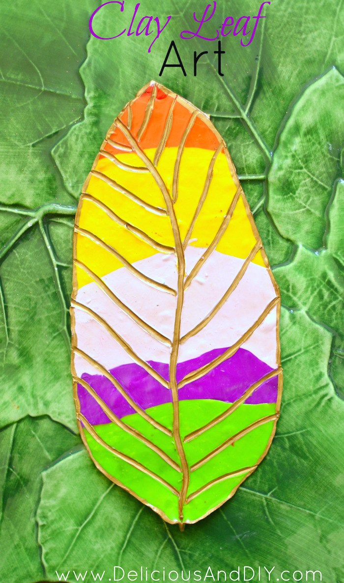 Leaf shaped clay in a rainbow color