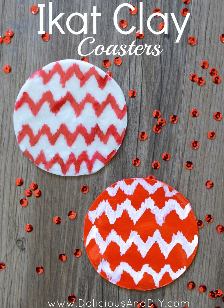 Red and white circle coasters with a ikat chevron pattern painted on top of it