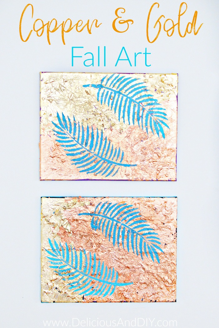 Create these gorgeous Anthropology inspired Wall Art pieces at half the price| Gorgeous Fall Wall Art Ideas| Gold and Copper Foil Decor| Affordable Wall Art Idea| Gallery Wall Ideas| Handprinted Wall Art| Palm Leaf Stencil Wall Art| Palm Leaf Art| Wall Decor Ideas