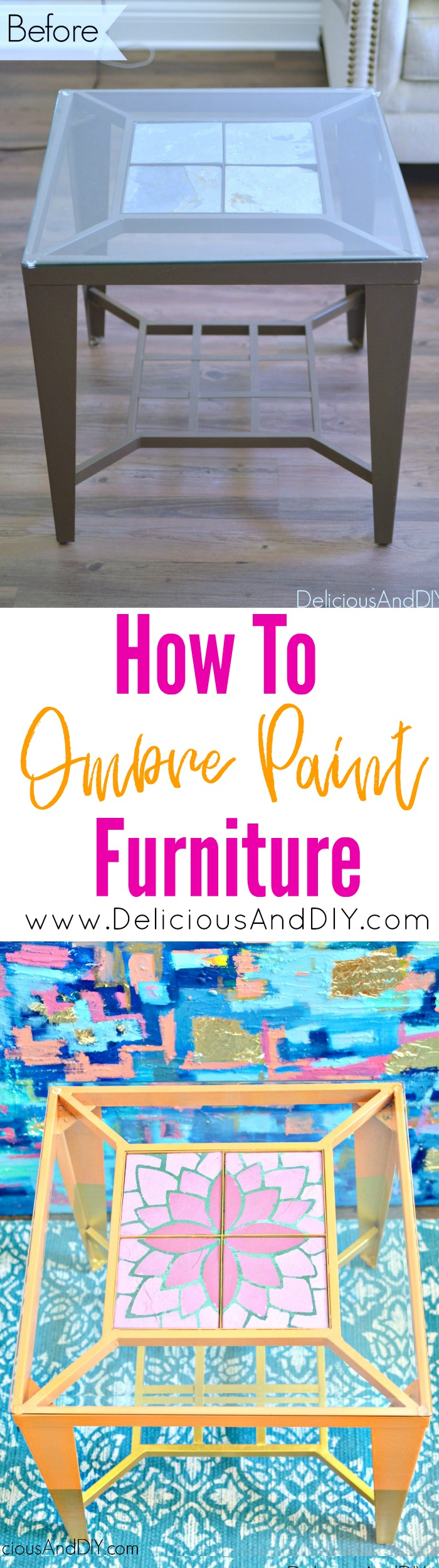 Refinished End Tables| Home Decor| Ombre Flowers| Gold Dipped Legs| Side Table Ideas| Painted Furniture| Chalk Finish Furniture| DIY Crafts||Home Decor| End Tables Makeover| Painted Furniture