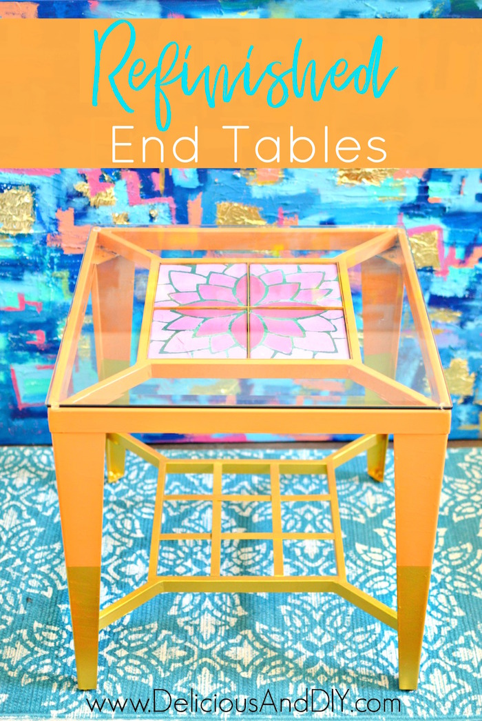 Refinished End Tables| Home Decor| Ombre Flowers| Gold Dipped Legs| Side  Table