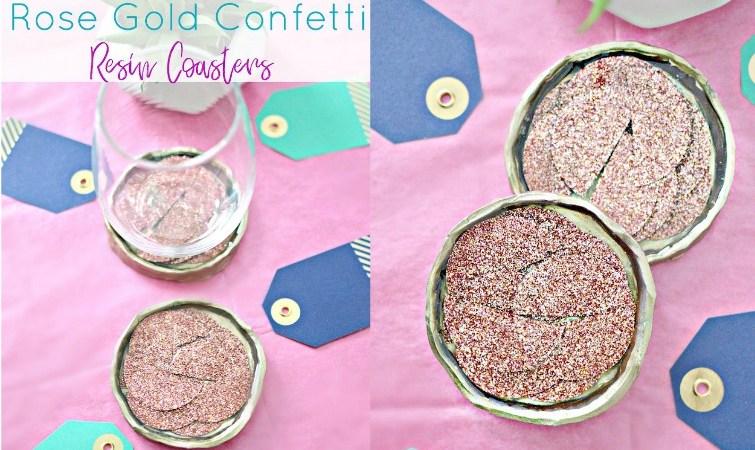 Rose Gold Confetti Resin Coaster