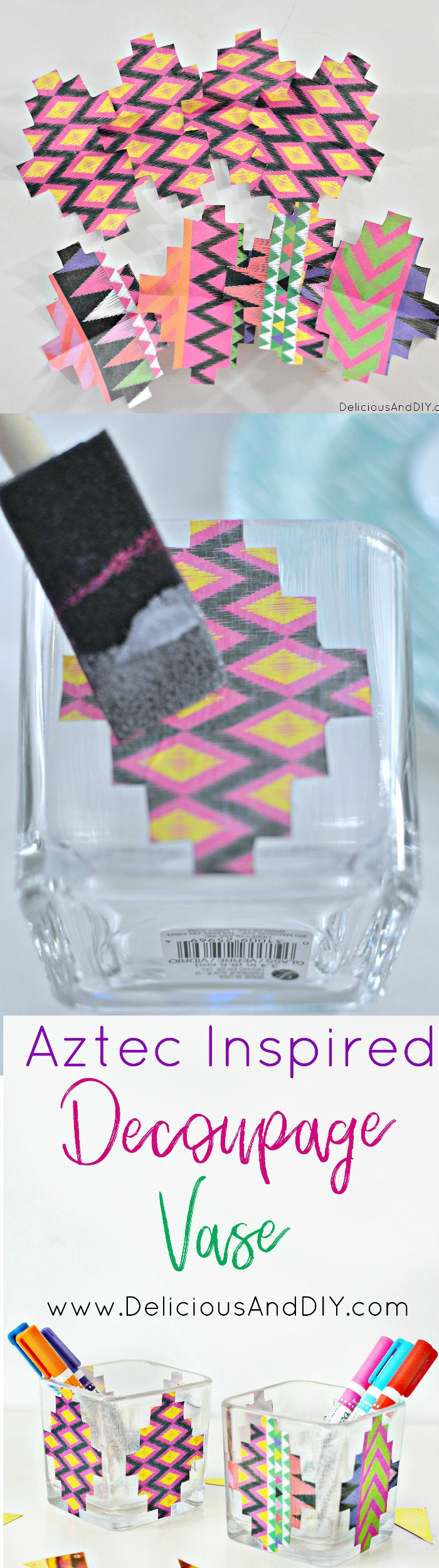 Create these beautiful Aztec Inspired Decoupage Vase just by using Dollar Store vases and beautiful decoupage paper|Decoupaged Vase| Decoupage Bowl Idea| Vase Ideas| DIY Crafts| Quick and Easy DIY Crafts| Centerpiece Ideas| Decoupage Ideas| Aztec Inspired Bowls| Aztec Pattern| Vase Makeover Ideas
