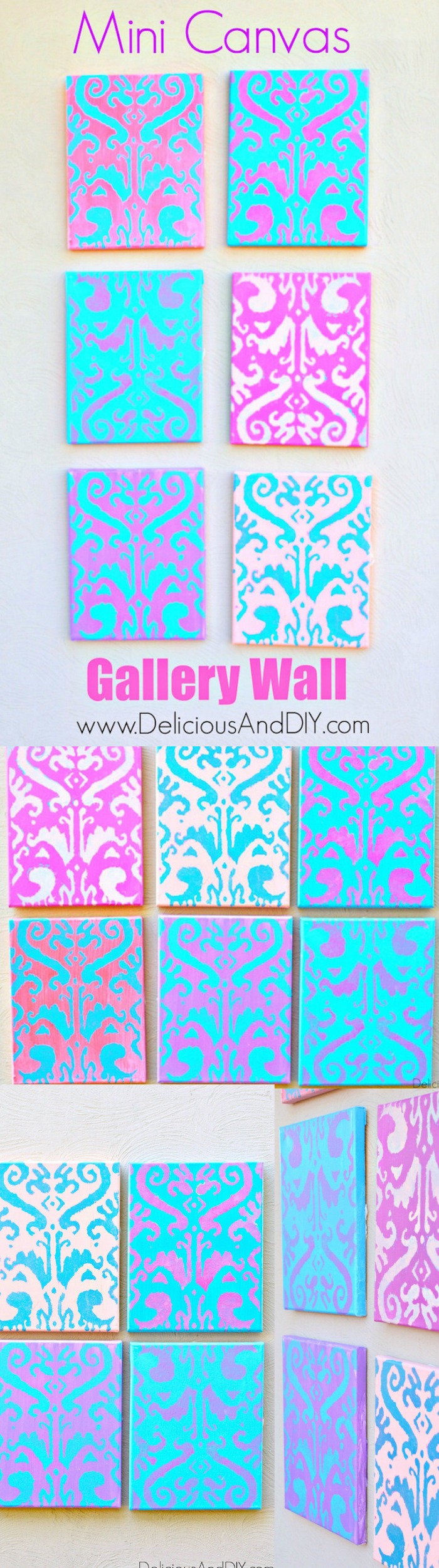 Create a fun Mini Canvas Gallery Wall all by using the same stencil but using different paint colors on each one of them| Home Decor| Galley Wall Art Ideas| Painted Wall Art| DIY Crafts| Ikat Wall Art| Ikat Stenciled Wall Art| Mini Canvas Wall Art Ideas