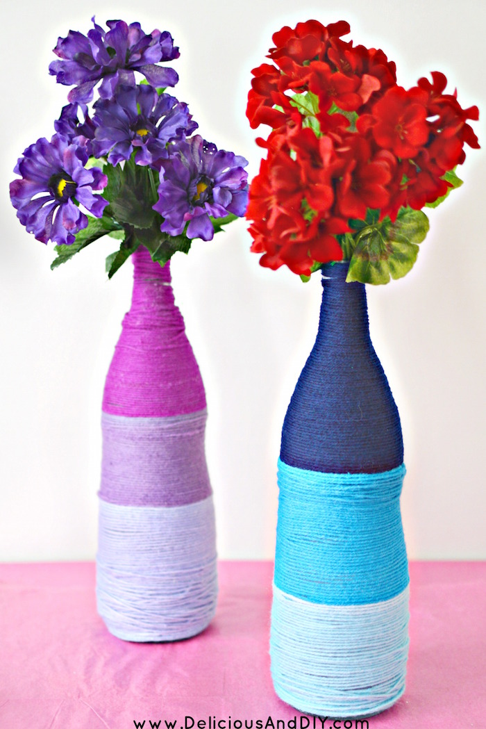 Recycle those bottles into these fun Ombre Yarn Bottle with a few simple supplies| Ombre Yarn Projects| DIY Yarn Projects| Recycled Bottle Projects| Home Decor| Before and After Crafts| Recycled Bottles into Yarn Bottles| DIY Yarn Projects| Yarn Ideas| DIY Crafts| Ombre Projects
