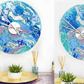 DIY Marbled Wall Clock