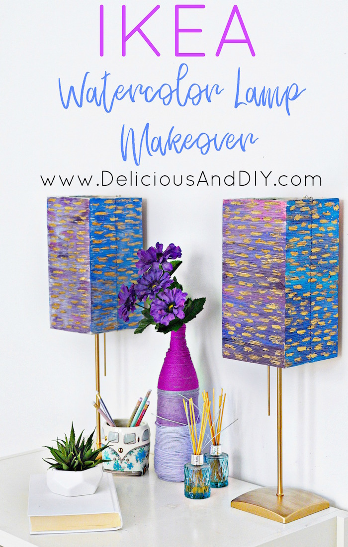 Update those plain IKEA Lamps into this watercolor Ombre beauty just by using some Watercolor paints and Liquid Gold Gilding| DIY IKEA Lamp Hacks| Watercolor Paints Lampshade Makeover| IKEA Hacks| Upcycle Lamps| Home Decor| Before and After| Painted Lampshade| Ikea Furniture Hacks and Ideas| Ombre Watercolor Lampshade