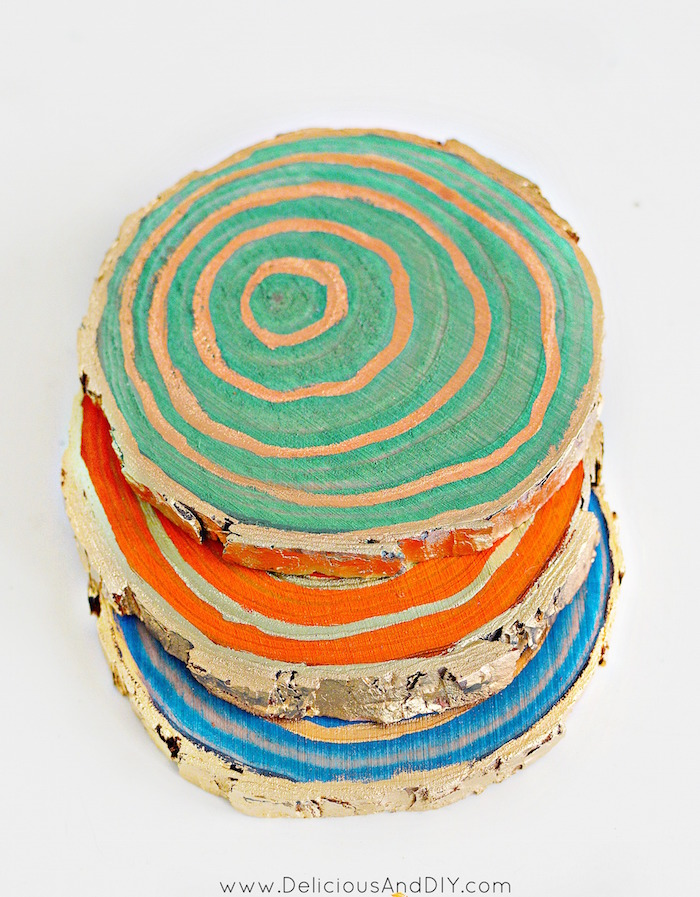 See how easy it is to make Stained Wood Slice Coasters  Wood Coasters created using Colorful Wood Stains  Home Decor  DIY Coasters made Using Wood Slices  Craft Ideas  Home Decor  Stained Wood Coasters  Liquid Gold Gilding Wood Coasters