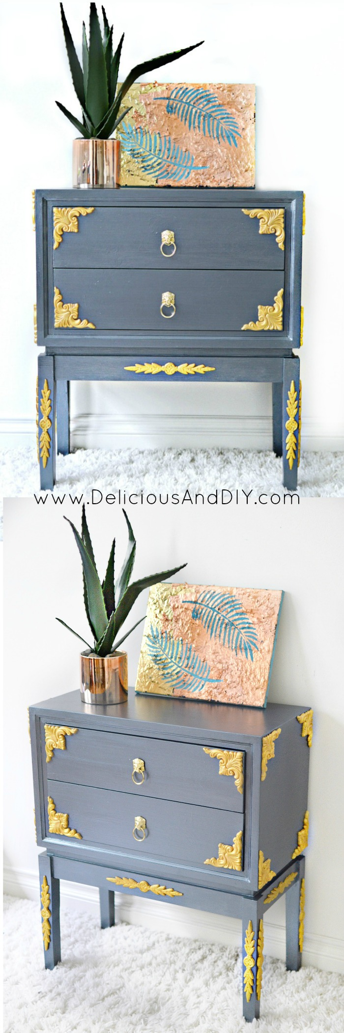 Create this gorgeous Table Makeover using Wood Appliqués| DIY Painted Furniture Makeover| Furniture Makeover using Wood Appliques| Grey Furniture Makeover| DIY Table Makeover Ideas| Before and After Thrift Store Furniture Makeover