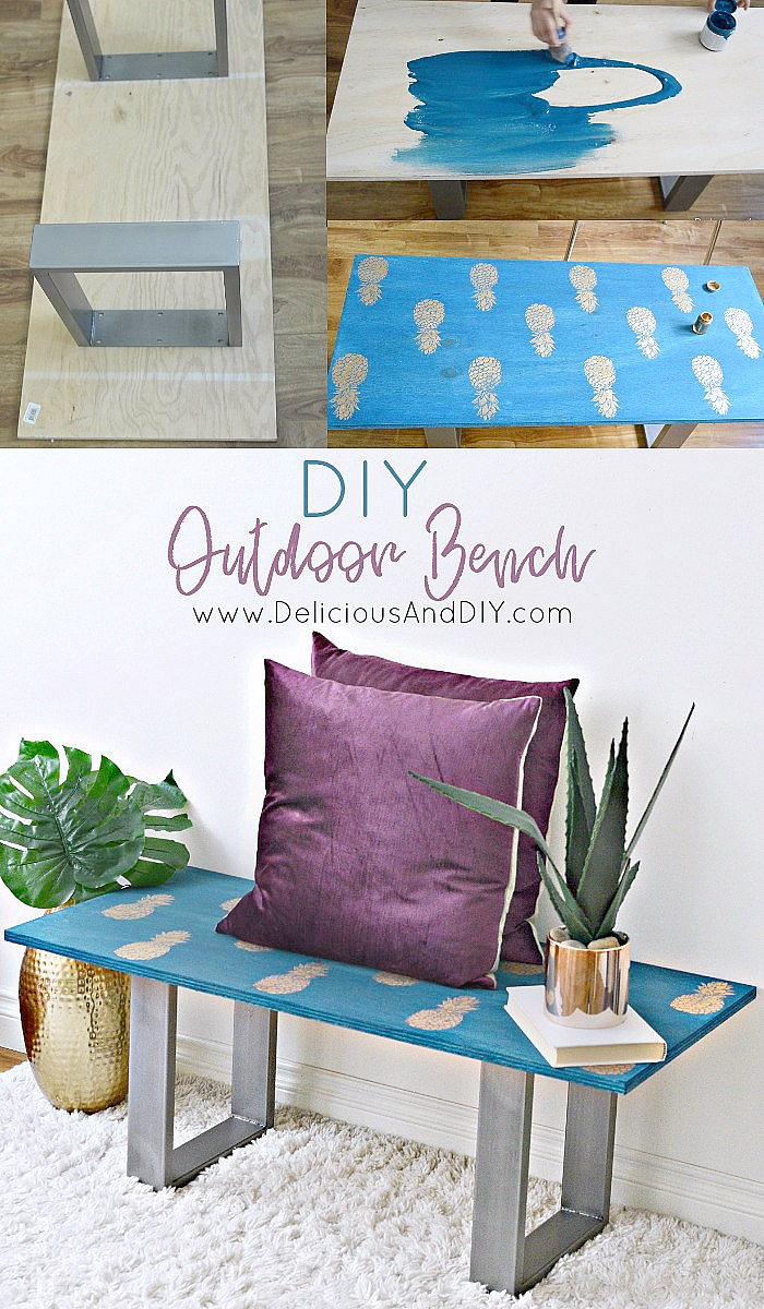 Learn how to make your own Bench just by using a few simple supplies, this is perfect for Summers and will definitely make your outdoor space lively with the stenciled Pineapples| DIY Outdoor Pineapple Bench| Woodworking| Outdoor Patio Decor Ideas| Summer Bench| Stenciled Pineapple Bench