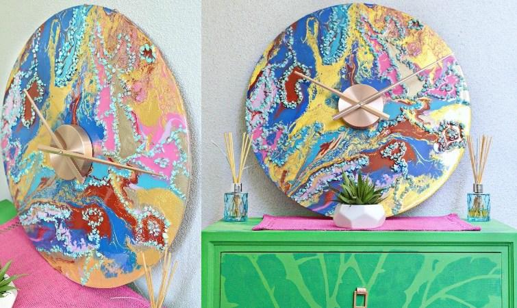 DIY Marbled Resin Wall Clock