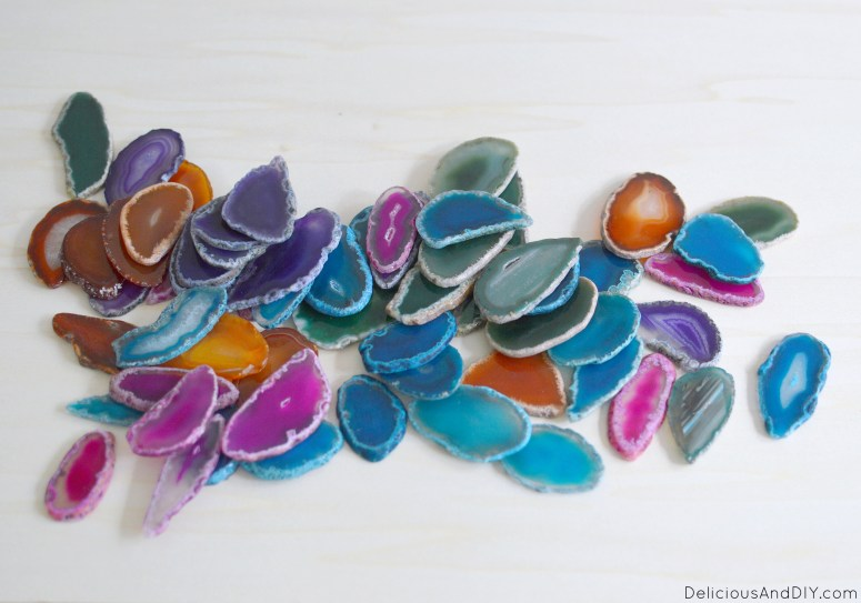 Colorful Agate Slices to be used on the wood coffee table